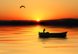 Fototapeta morze - bark - Zachód / Wschód Słońca