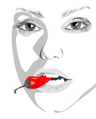 women fnd pepper, vector illustration