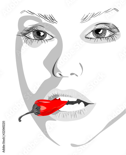 women fnd pepper, vector illustration