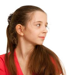 Portrait of a pretty brunett girl in red
