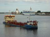 Ships in Daugava (Riga, Latvia) poster