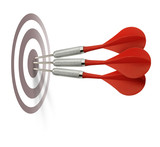 Three red darts hitting target