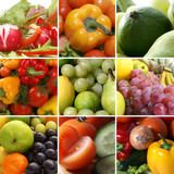 Collage of different nutrition images with fruits and vegetables poster