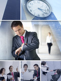 Collage of business images with young adults poster