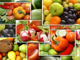 Collage made of fruit and vegatable nutrition images poster