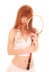 Beautiful woman with tennis racket isolated on white