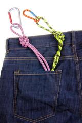 Climbing gear in a pocket