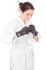 The girl-fighter in kimono