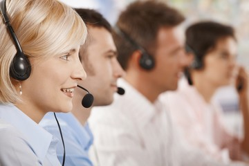 Customer service operators in a row