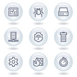 Internet security web icons, white  circle buttons