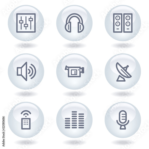Media web icons, white circle buttons