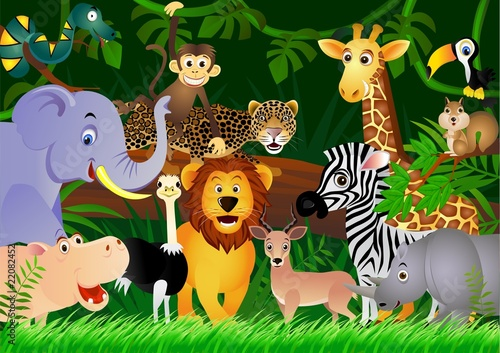 In de dag Zoo Wild animal cartoon