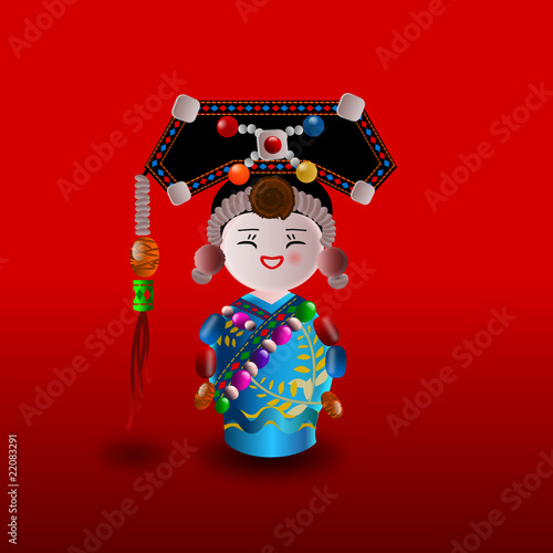 Chinese doll in blue