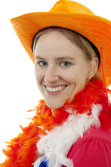 portait of Dutch soccer fan over white background