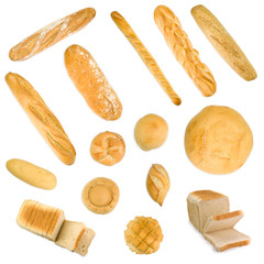 Group of baguettes, buns and sliced bread
