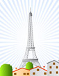 eiffel tower in paris illustrated vector