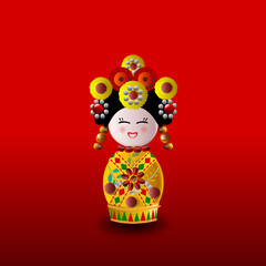 Chinese doll in yellow