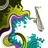 Designed psychedelic banner with saxophone poster