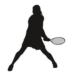 Silhouette tennis woman