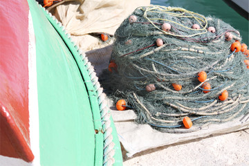 fishing net in a heap