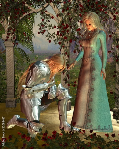 Tuinposter Ridders Sir Launcelot and Queen Guinevere