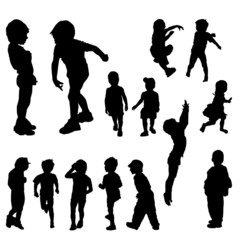 14 children silhouettes in different positions, illustration