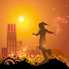 the garden of stars - a girl playing whit lights in sunset