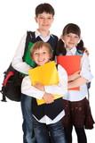 Schoolchildren with books poster
