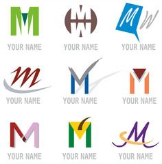 Ensemble d'Icones Lettre M pour Design Logos