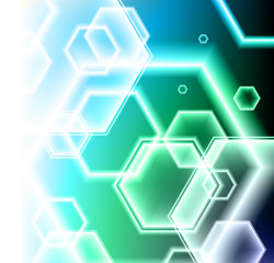 Hexagon Shapes on Colorful Abstract Background