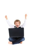 Celebrating boy with laptop