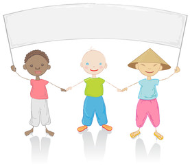 Kids of three different races, vector illustration