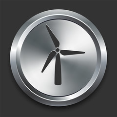 Wind Turbine Icon on Metal Internet Button