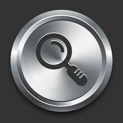 Magnifying Glass Icon on Metal Internet Button