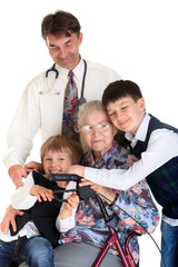Senior with grandchildren and doctor