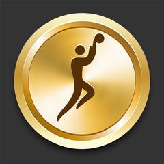 Basketball on Golden Internet Button