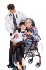 Woman in wheelchair and doctor