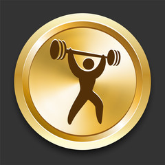 Weightlifting on Golden Internet Button