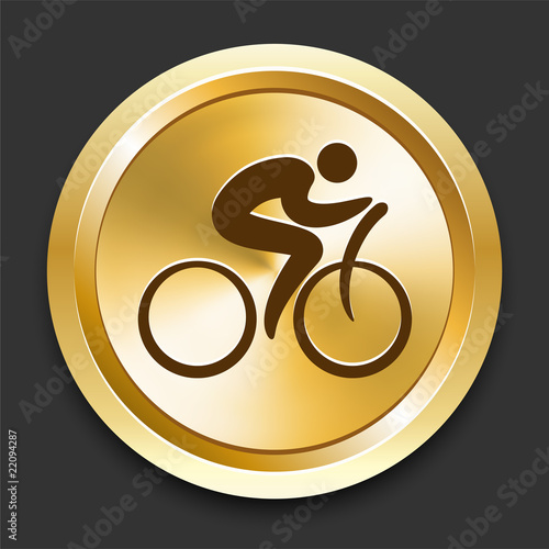 Cyclist on Golden Internet Button