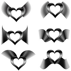 vector illustration of a set of the abstract wings with hearts