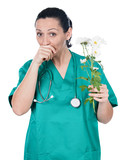 Allergic doctor woman with flowers poster