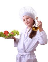 Young chef with healthy food