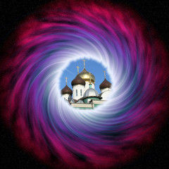 Stock image of Space Vortex with orthodox church