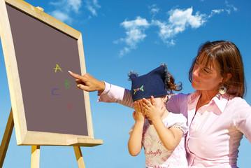 Alphabet lesson on fresh air