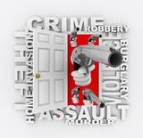 Crime - Handguns Emerge Through Doorway poster