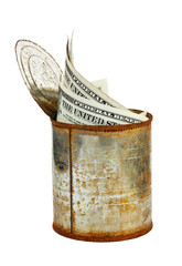 Rusty tin can with US dollars isolated on white