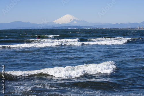 Beach and waves, Mt Fuji and Enoshima Island.