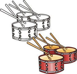 Three red drums. Musical instruments.