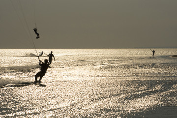 kiting at the sunset