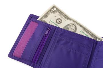 Portafoglio aperto che contiene due dollari
